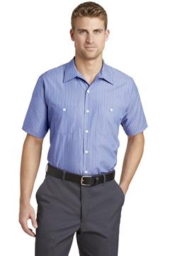Red Kap® - Short Sleeve Striped Industrial Work Shirt. CS20