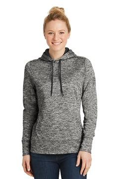 Sport-Tek® Ladies PosiCharge® Electric Heather Fleece Hooded Pullover. LST225