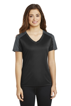 Sport-Tek® Ladies PosiCharge® Competitor ™ Sleeve-Blocked V-Neck Tee. LST354