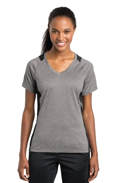 Sport-Tek® Ladies Heather Colorblock Contender ™ V-Neck Tee. LST361