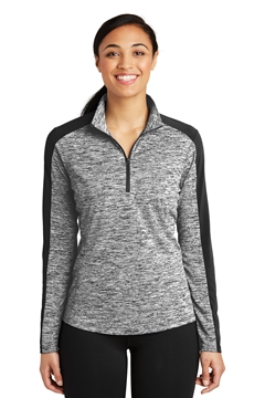 Sport-Tek® Ladies PosiCharge® Electric Heather Colorblock 1/4-Zip Pullover. LST397