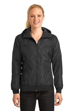 Sport-Tek® Ladies Embossed Hooded Wind Jacket. LST53