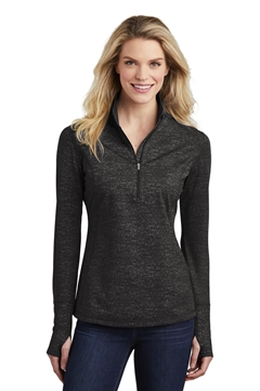 Sport-Tek® Ladies Sport-Wick® Stretch Reflective Heather 1/2-Zip Pullover. LST855