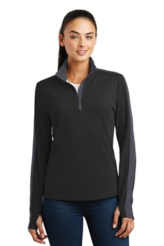 Sport-Tek® Ladies Sport-Wick® Textured Colorblock 1/4-Zip Pullover. LST861
