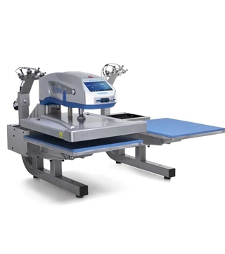 closed hotronix dual platen heat press with top platen on left side