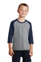 Port & Company® Youth Core Blend 3/4-Sleeve Raglan Tee. PC55YRS