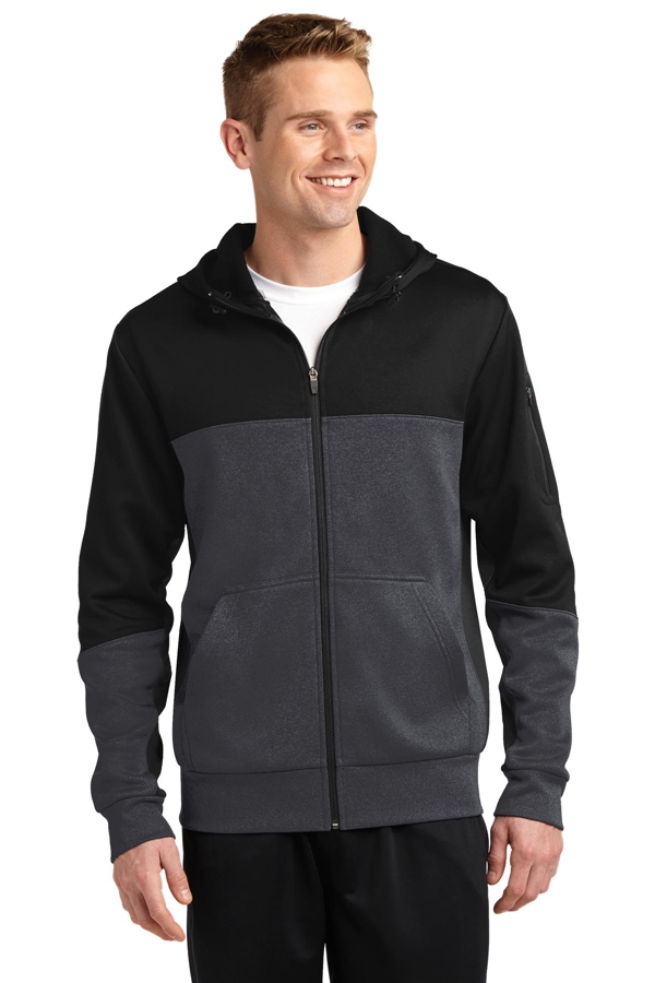 Sport-Tek® Tech Fleece Colorblock Full-Zip Hooded Jacket. ST245
