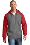 Sport-Tek® Raglan Colorblock Full-Zip Hooded Fleece Jacket. ST269