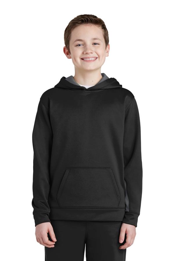 Sport-Tek® Youth Sport-Wick® Fleece Colorblock Hooded Pullover. YST235