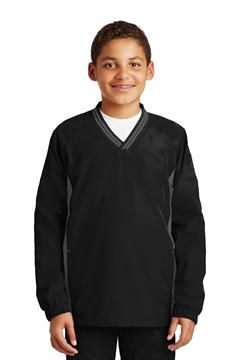 Sport-Tek® Youth Tipped V-Neck Raglan Wind Shirt. YST62